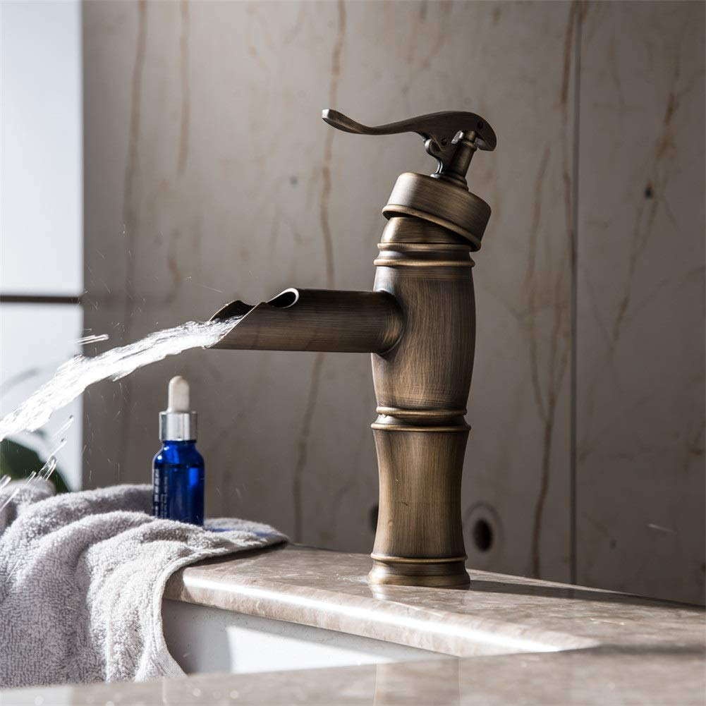 Basin Taps European Style Brass Antique Short Drawing Basin Wash Basin Faucet hot and Cold Water Sink Faucet
