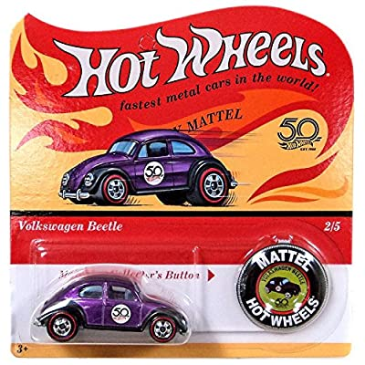 Hot Wheels 2020 50th Anniversary Originals 2/5 - Volkswagen Beetle (Purple) with Button: Toys & Games