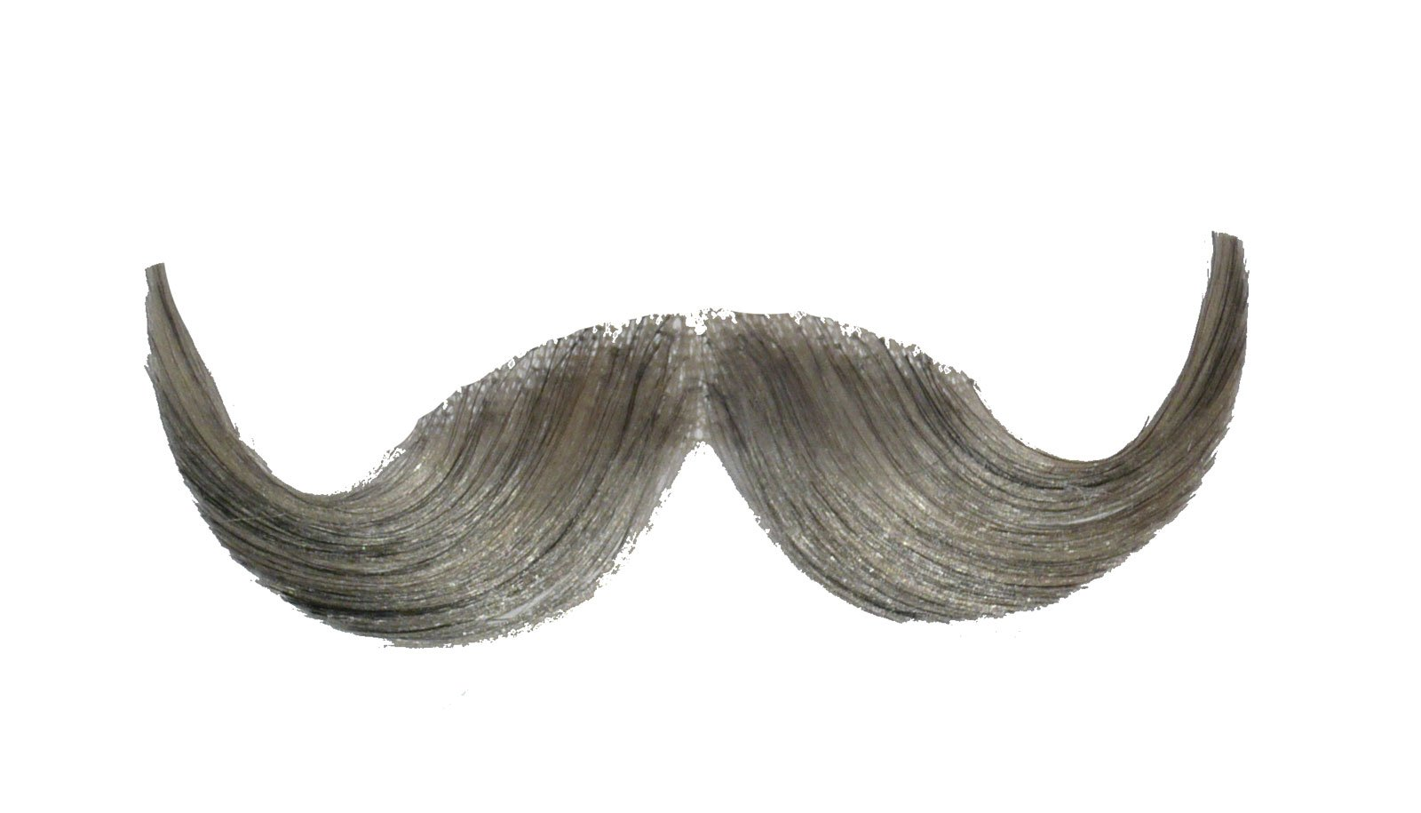 2013 (Light Gray) Human Hair Mustache Handlebar Mustache Includes 6 Free Adhesive Strips