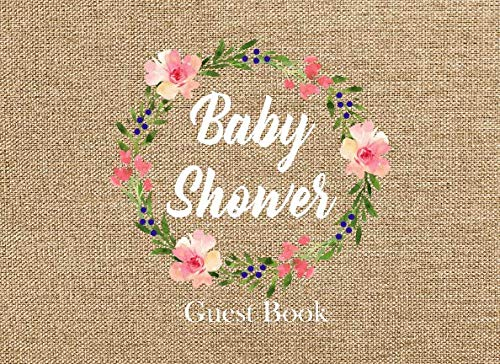 Baby Shower Guest Book: Advice for Parents and Gift Log Burlap, Rustic, -