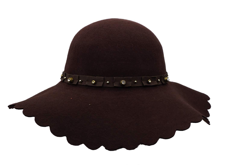 26ac73fe1cb Bienvenu Womens Wide Brim Wool Ribbon Band Floppy Hat ZLM00000323