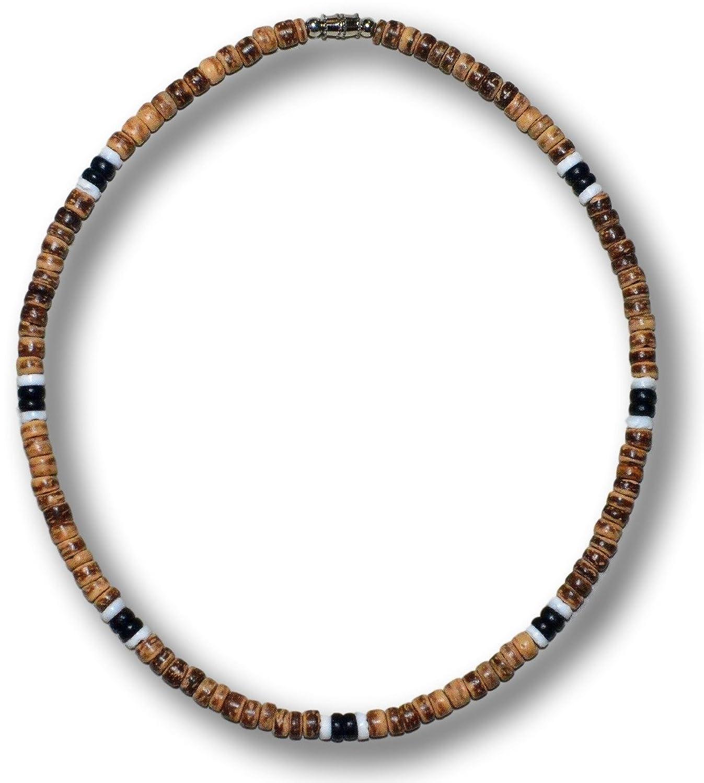 Native Treasure ネックレス ブラウン タイガー ココビーズ ブラック2つホワイト2つ プカ シェル サーファー B015NYBKHY 16.0 インチ