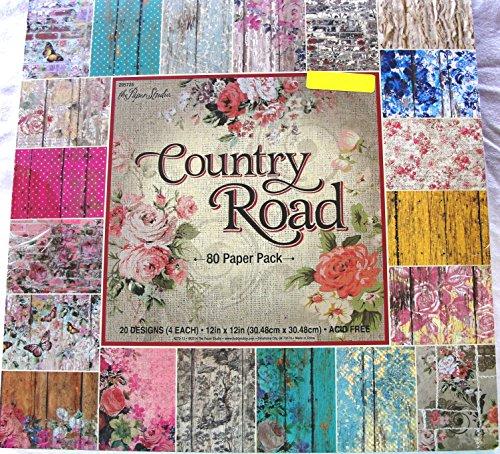 Country Road 12×12, the Paper Studio, Barnwood, Shabby, Vintage, Floral, Damask, Scrapbook, Cardmaking Paper Pack 80 Sheets