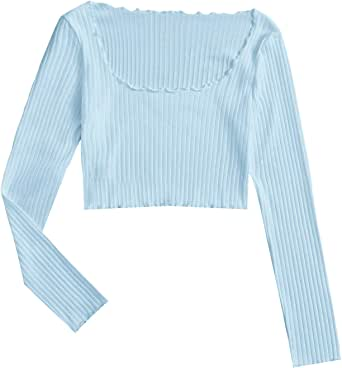 Milumia Women's Square Neck Crop Tops Rib Knit Solid Basic Casual Tshirts