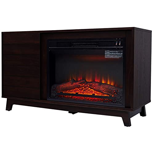 HOMCOM Freestanding Electric Fireplace TV Stand for TVs up to 50 , Contemporary, Wooden, Espresso, Black, 42 L