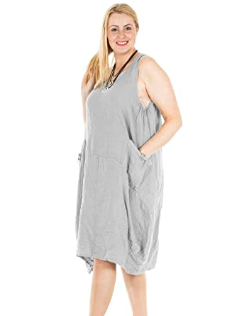 9c4b77cc03b Love My Fashions New Ladies Womens Italian Lagenlook Quirky One Side Pocket  Sleeveless Linen Tunic Dress