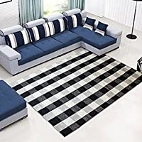 Levinis 100% Cotton Rug Hand-woven Checkered Carpet Braided Kitchen Mat Black and White Floor Rugs Living Room Area Rug, 47.3x70.8