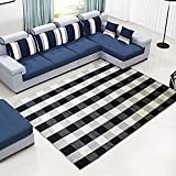 100% Cotton Washable Rugs Large Black and White Plaid Rug for Living Room/Kitchen/ Bathroom/ Entry Way/ Laundry Room, 67''x90''