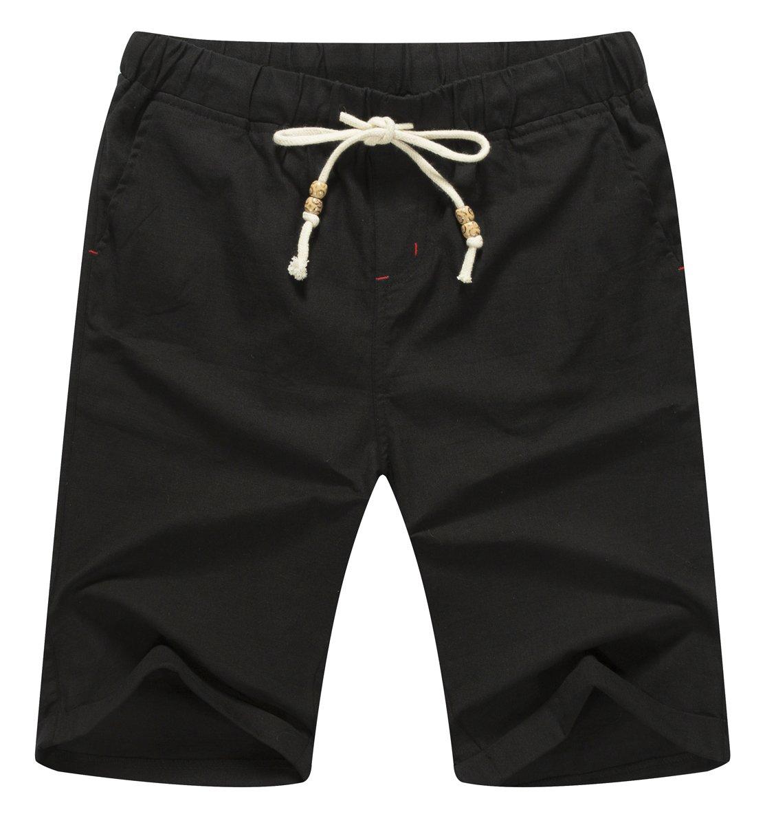 ZYFMAILY Men's Linen Casual Classic Fit Short Drawstring Summer Beach Shorts (XL, Black)