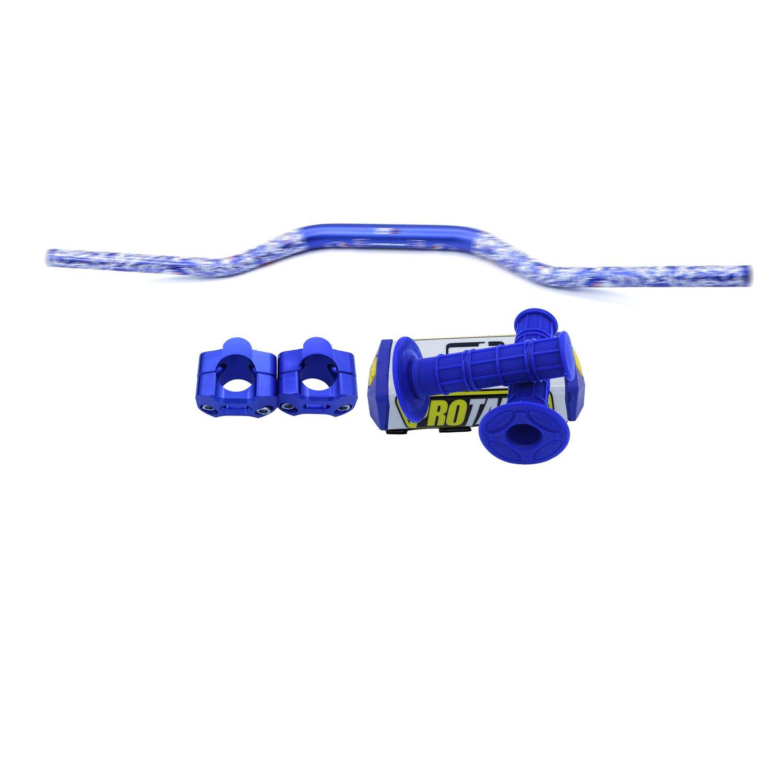 ZJTG 1 1/8 Handlebars 28MM Pro Taper Bars Grips CNC Bar Risers Bar Pad for Dirt Bike Pit Bike Motocross Motorcycle Blue