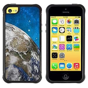 All-Round híbrido Heavy Duty de goma duro caso cubierta protectora Accesorio Generación-II BY RAYDREAMMM - Apple iPhone 5C - Space Stars Blue Sky Earth Universe Planet