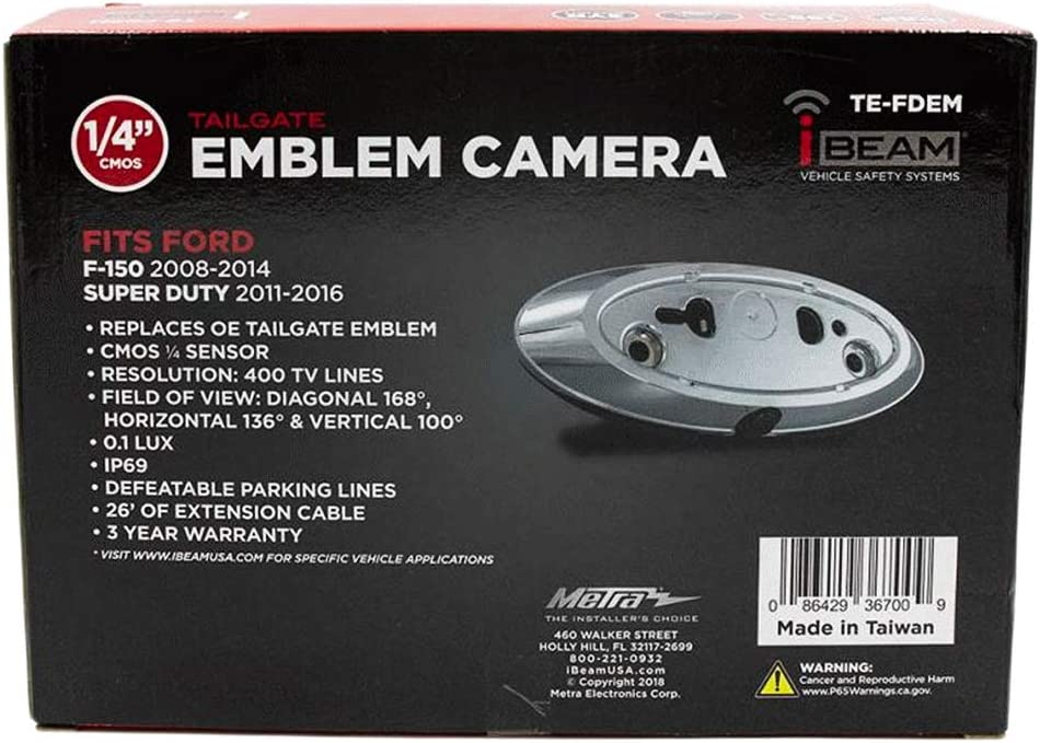 iBeam FDEM Emblem Rear View Camera for Select Ford Trucks 2003-2017