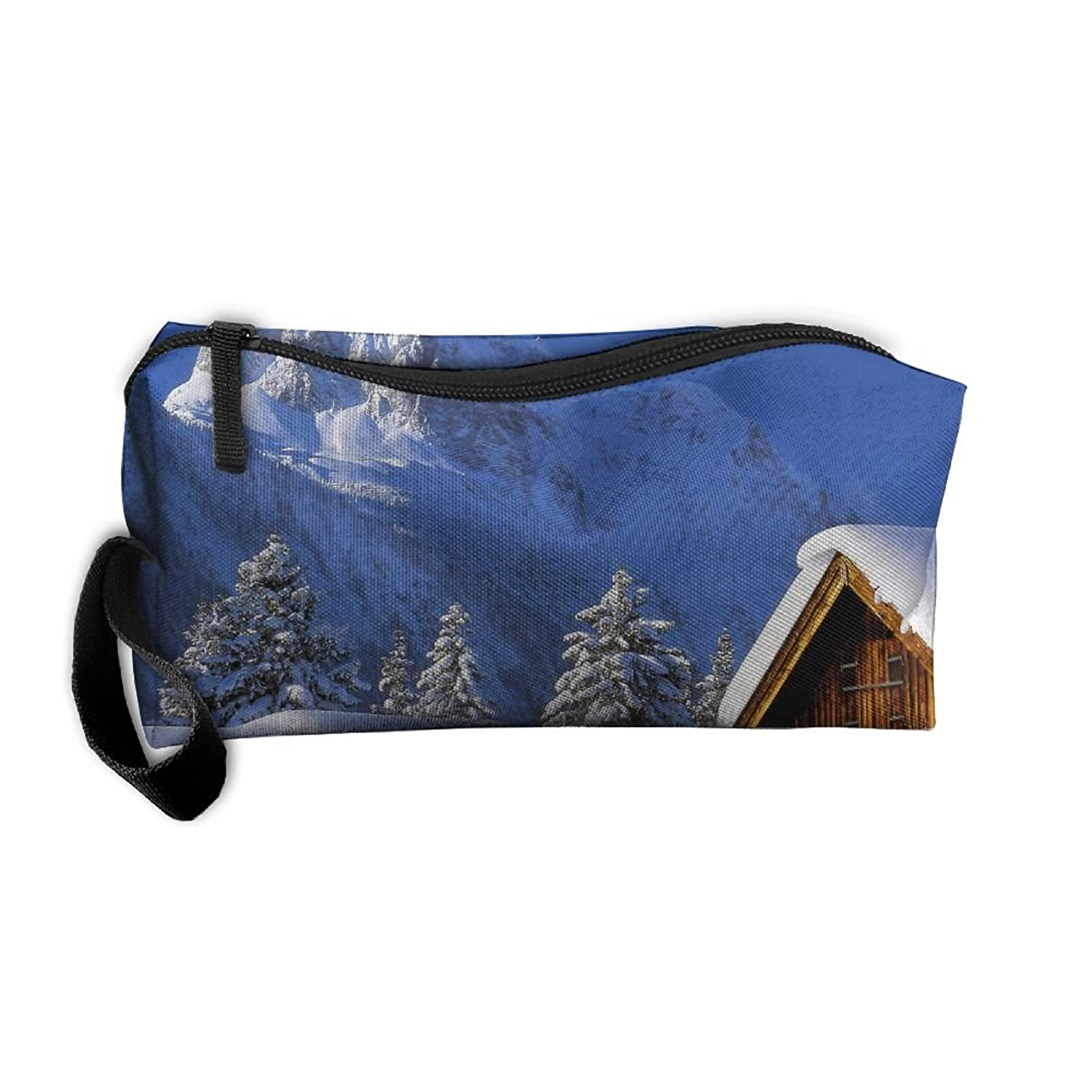 Snow Tree House Travel Clutch Bag For Women Cosmetics Case With Zipper