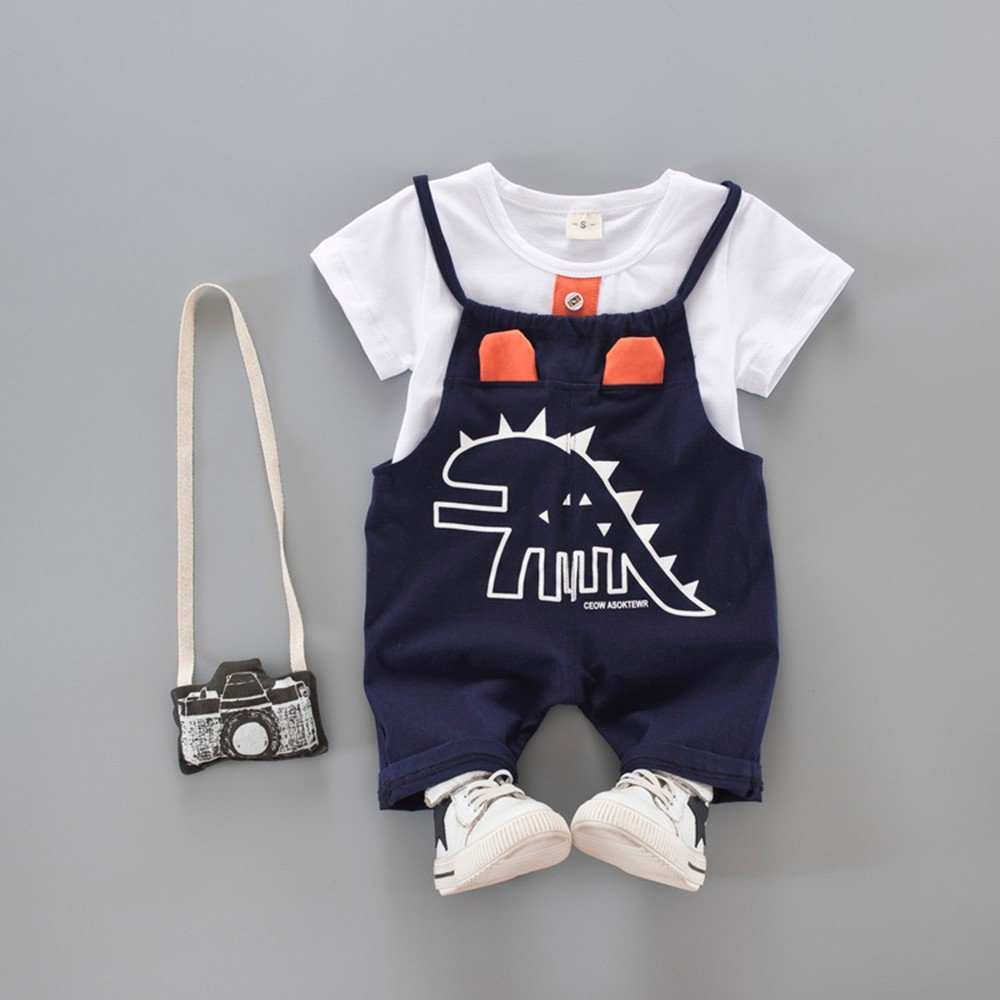 Fine Newborn Toddler Baby Dinosaur Print T-Shirt Tops+Strap Pants Outfits Clothes Set