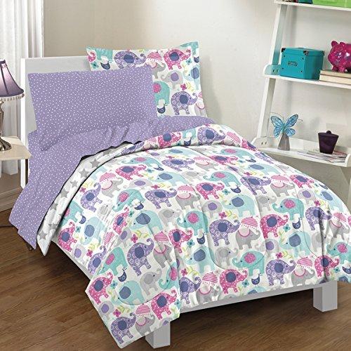 OSD 5pc Pretty Elephant Themed Comforter Twin Set, Star Printed Bedding, Boho Chic Bohemian, Blue Purple Grey, Decorative Elephant Rich Pattern, Asian Country