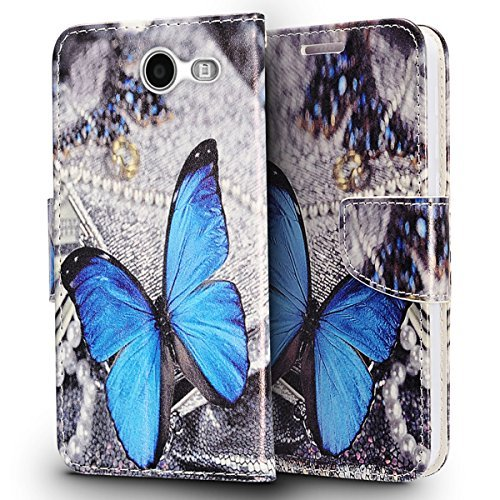 Samsung Phone Faceplates - Luckiefind Compatible with Samsung Galaxy J3 (2018) J737/Galaxy AMP Prime 3, Premium PU Leather Flip Wallet Credit Card Cover Case (Butterfly)