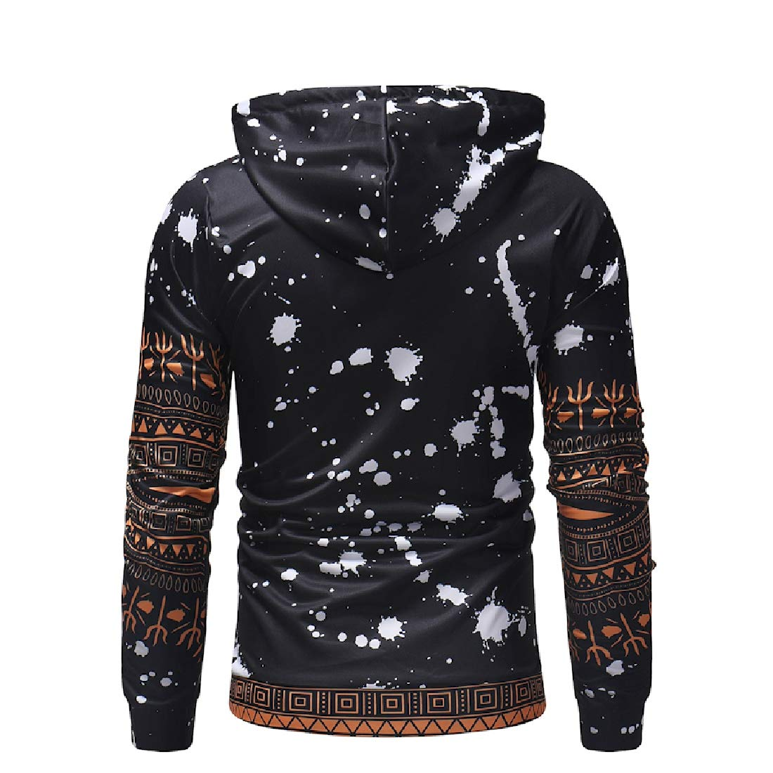 YUNY Mens African Hoodie Fall Winter Long-Sleeve Pullover Hoodie Jacket Black 2XL