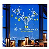 OOFYHOME Wall Sticker Removable PVC Art Stickers Elk Decoration Window Sticker Clothing Shop Wall Sticker Window Glass Sticker , white + yellow , mid