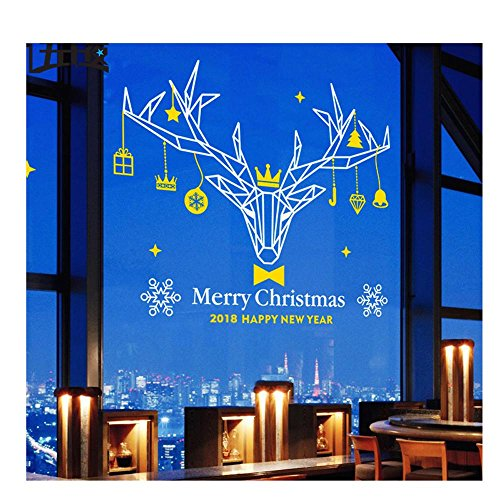 OOFYHOME Wall Sticker Removable PVC Art Stickers Elk Decoration Window Sticker Clothing Shop Wall Sticker Window Glass Sticker , white + yellow , mid by OOFYHOME