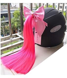 3T-SISTER Casque de cristal tresses 14inch Ombre Noir /à Blonde casque queue de cheval d/écoration pour moto v/élo casque de ski accessoires ventouse r/éutilisable
