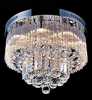 "Saint Mossi Crystal Rain Drop Chandelier Modern & Contemporary Flush mount Ceiling Pendant Light 9 G9 Bulbs Required H12"" X D18"""