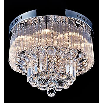 Flushmount 4-light Chrome and White Crystal Chandelier ...