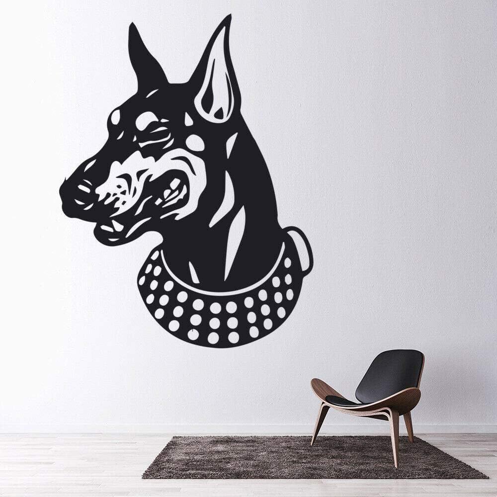 Tianpengyuanshuai Pegatinas de Pared para Perros Doberman Cabeza de Perro salón Tienda de Mascotas Puertas y Ventanas Decorativas calcomanías de Vinilo 63x82cm