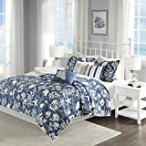 Cape Cod 6 Piece Cotton Sateen Coverlet Set Blue King/Cal King
