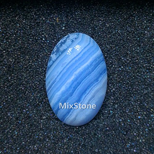 Mix-Stone 1 Pcs Natural Gemstone Blue lace Agate Oval Cabochon CAB Flat back Semi-precious Gemstone Ring surface DIY Oval Cabochon (1.2 ()