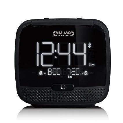 Bzng Reloj Despertador Digital, Reloj de Pantalla LCD Posponer con Función de luz de Fondo