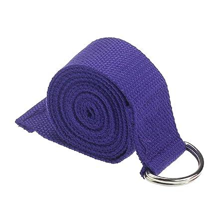 SODIAL(R) Yoga Cinturon Moda Accesorio de Yoga Cintura Pierna Fitness Ajustable 180CM Correa Entrenamiento Estiramiento D-Ring Algodon Hebilla de ...