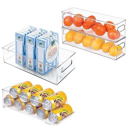 mDesign Juego de 4 cajas organizadoras para la cocina ...