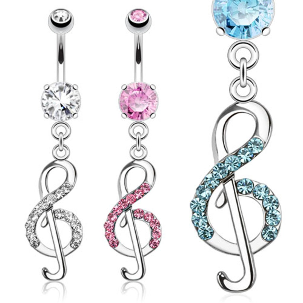 Dynamique Treble Clef Music Note Paved CZ Dangle 316L Surgical Steel Belly Button Ring Sold per Piece