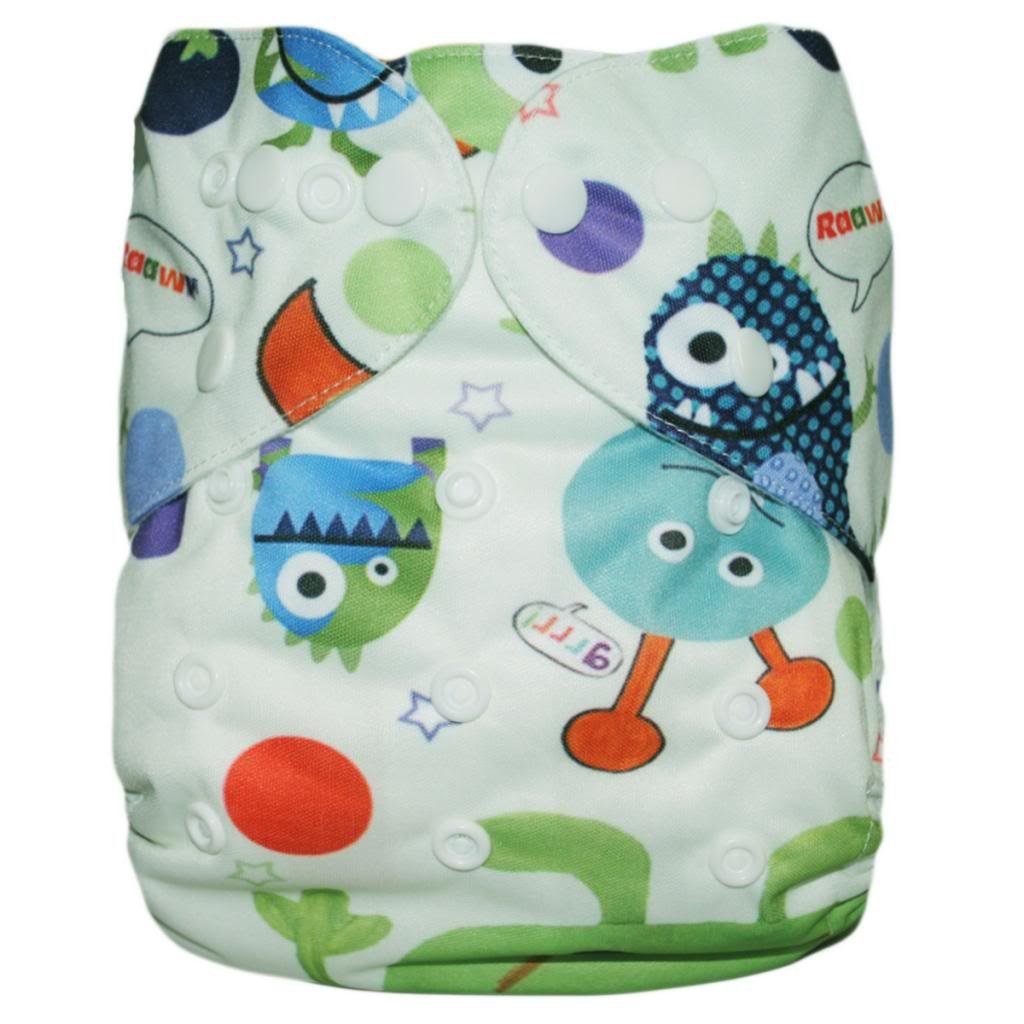 Alva Baby AI2 Digital Printed Reuseable Washable Cloth Nappy with 2 Liners YA10-EU Alvababy