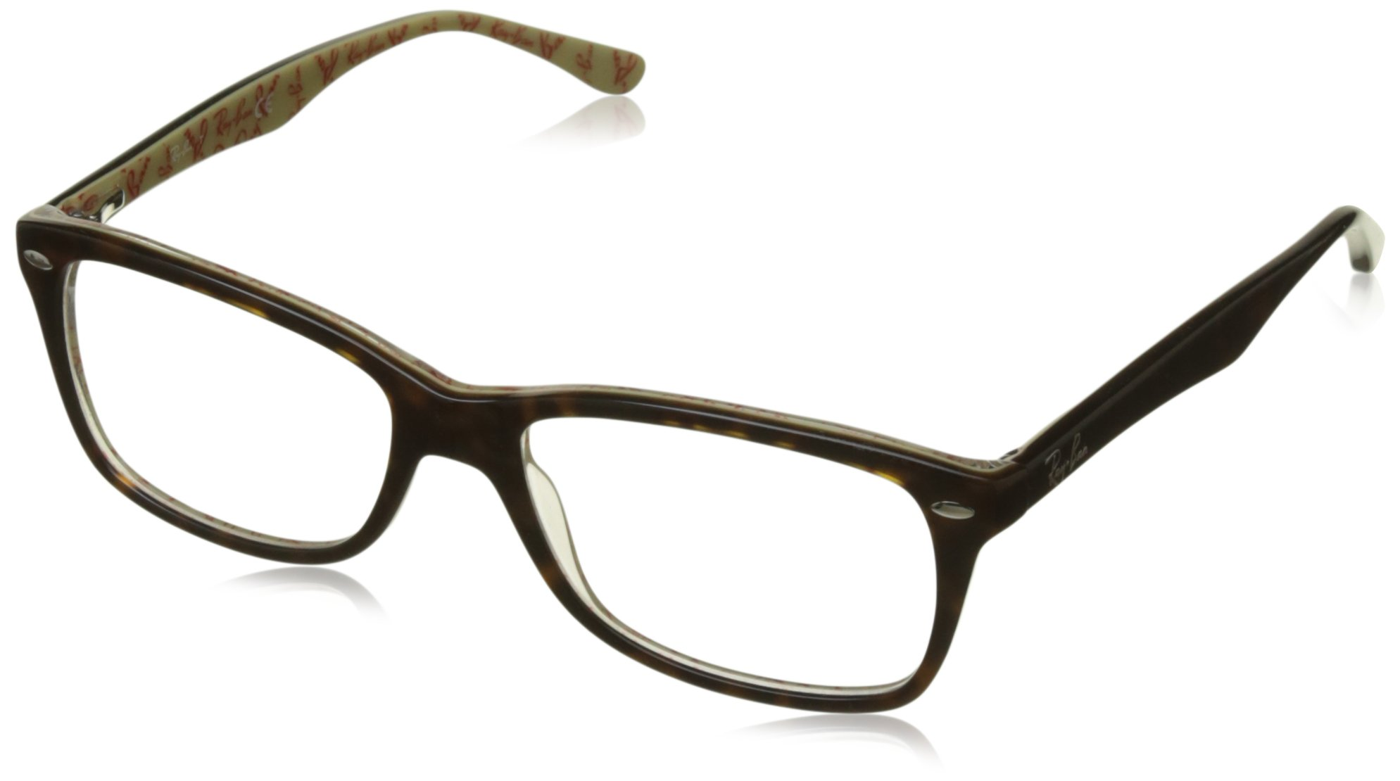 RAY-BAN RX5228 Square Eyeglass Frames, Dark Tortoise On Beige Texture/Demo Lens, 55 mm by Ray-Ban