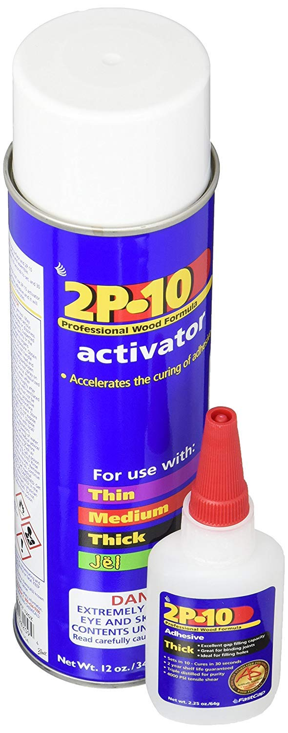 Fastcap 2P-10 Super Glue Adhesive 2.25 Ounce Thick and 12 Ounce Activator Combo Pack by Fastcap