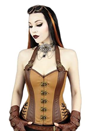 78120271a2b Restyle Steampunk Brown Faux Leather Steel Halter Overbust Strap Hook Corset   Amazon.co.uk  Clothing