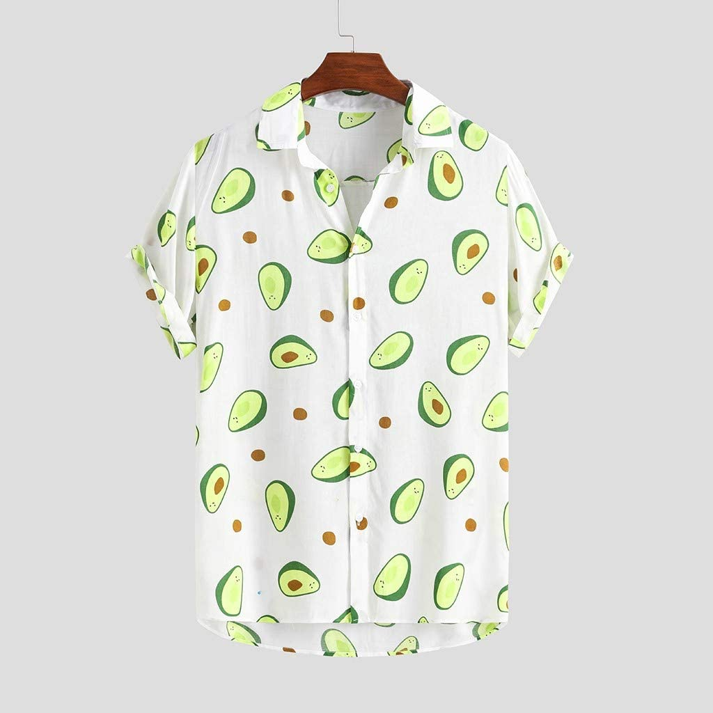 Easytoy Mens Colorful Funny Printed Printed Turn Down Collar Short Sleeve Loose Shirts