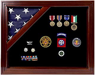 product image for Military Award Shadow Box with Display Case for 3 x 5ft Flag - Felt in Black Color.