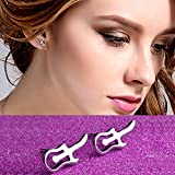 Hosaire Girl's Silver Violin Guitar Stud Earrings Fashion Women's Jewelry For Wedding Party