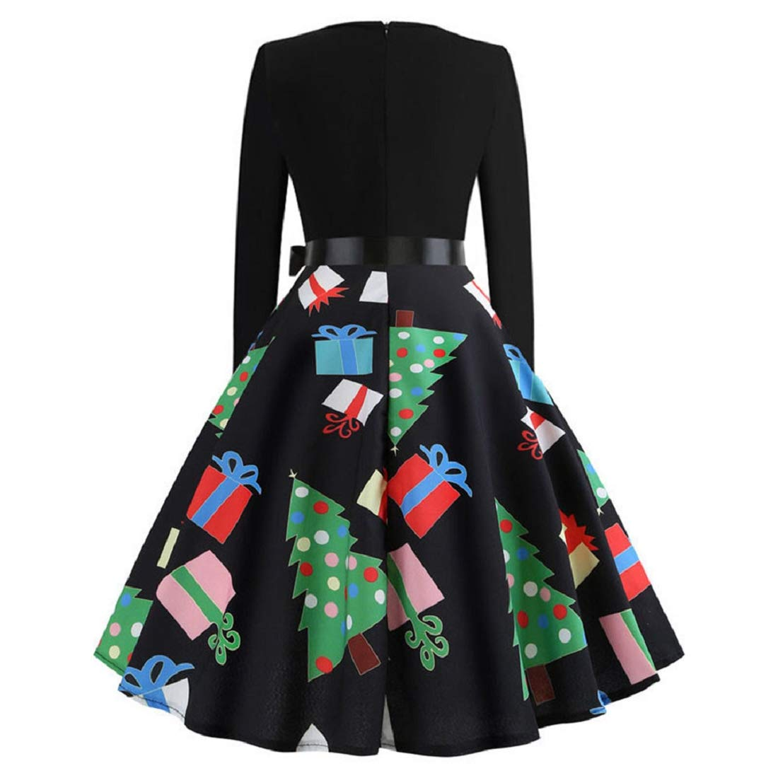 Bkolouuoe Womens Christmas Printed Party Dress Long Sleeve Round Neck Casual Belt Evening Cocktail Swing Dresses