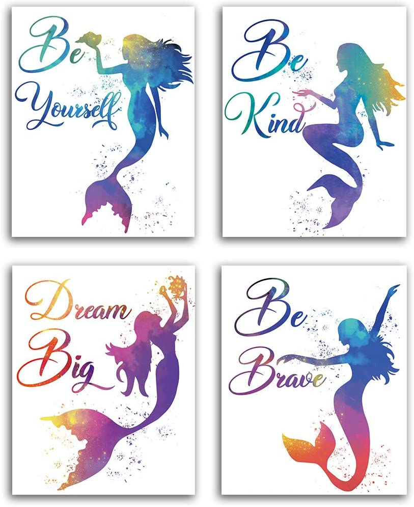 "Purple Mermaid Inspirational Words Watercolor Art Print Set of 4 (8""X10""), Mermaid art Poster for Nursery, Daughter girls Bedroom Home Wall Decor, No Frame"