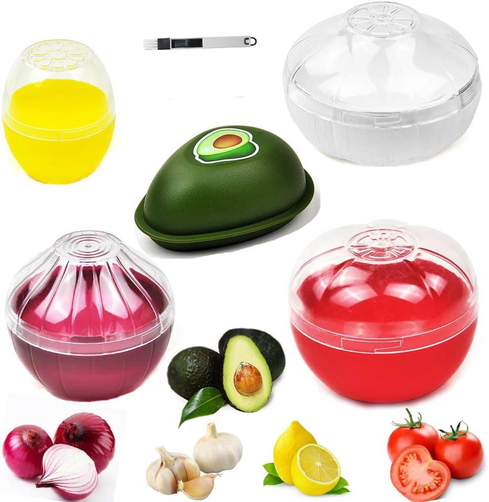 Onion Garlic Lemon Avocado Storage/Keeper, Yamesu BPA Free Tomato Vegetable Shaped Food Saver/Container, 5-piece Set Bundle with a Brush