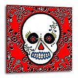 Janna Salak Designs Day of the Dead Dia de los Muertos Sugar Skull Wall Clock, 10 by 10-Inch For Sale