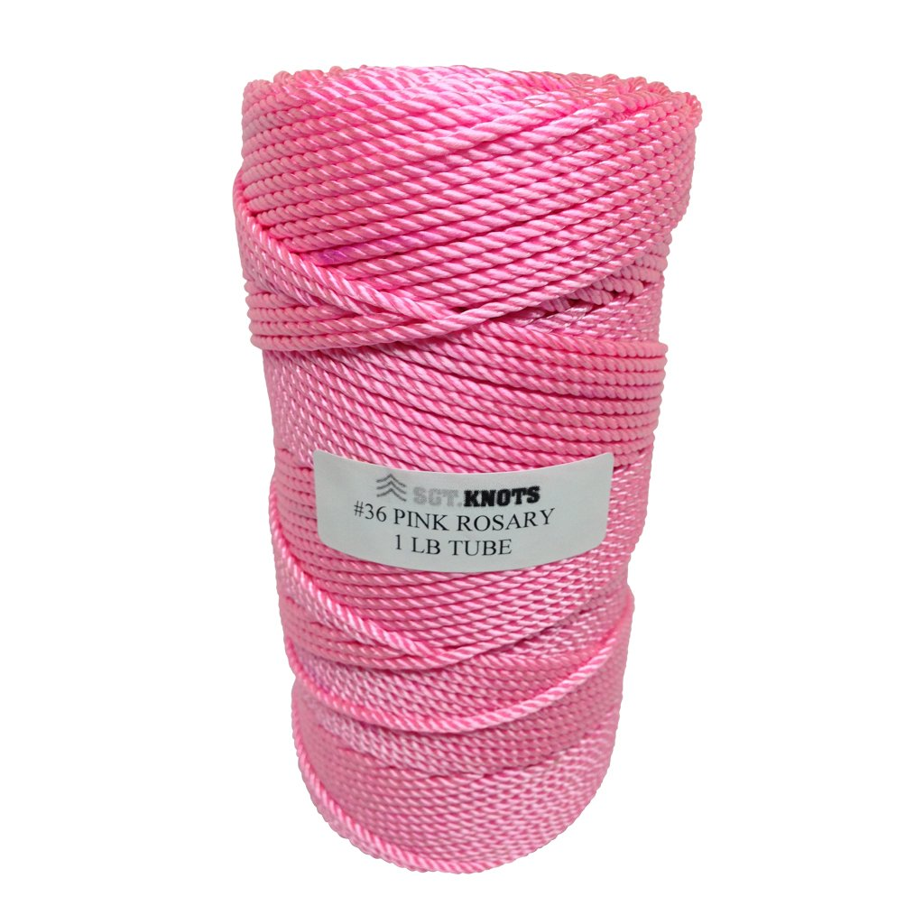 Rosary Twine #36 (2.16 mm) - SGT KNOTS - 3 Strand Twisted Nylon Crafting Twine Made for Rosaries - Easy to Work With, Soft, Even Consistency, & Holds Knots - for Classes, Crafts, DIY (486 ft - Pink)