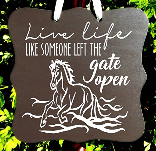 amazon com live life like someone left the gate open horse sign