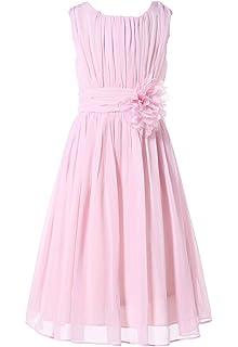 c65137d4ffef5 Bow Dream ガールズドレス 女の子ドレス ワンピース 帯に花付き フォーマルドレス シフォン 発表会