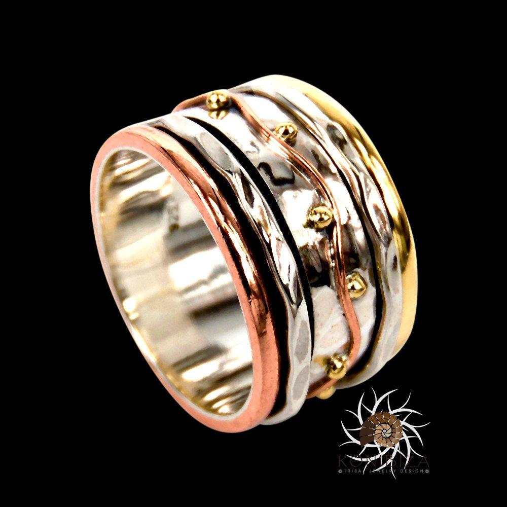 Spinner Ring - Meditation Ring - Anti Stress Ring - Three Metal Rings - Multi Metal Ring - Mixed Metal Ring - Silver Ring - Unisex Ring - Yoga Ring