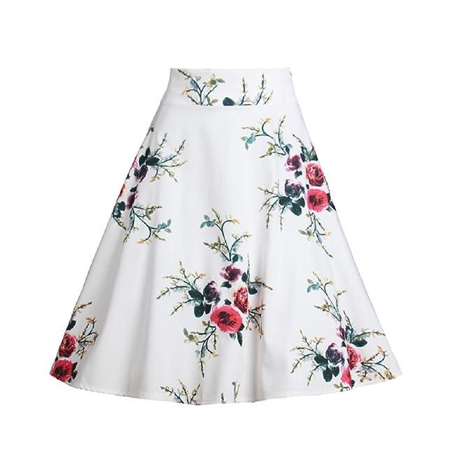 e29c6240b2 FuweiEncore Falda de Mujer Falda a Media Pierna de Mujer Falda a Media  Pierna Falda Larga de Estampado Floral Elegante  Amazon.es  Ropa y  accesorios