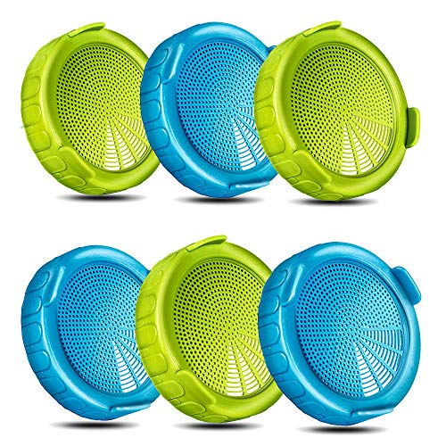 6 Pack Plastic Sprouting Lids for Wide Mouth Mason Jars, BPA Free Sprout Seeds Strainer Kit - Grow Broccoli, Alfalfa, Bean Sprouts etc - MasonChef